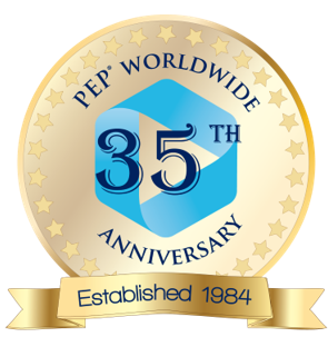PEP worldwide 35 year anniversary logo, established in 1984
